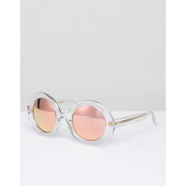Matthew Williamson Clear Frame Round Sunglasses With Peach Mirrored ...