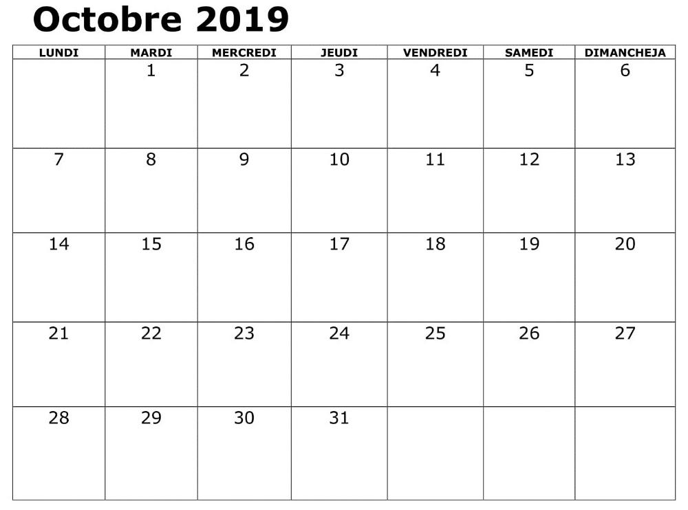 Calendrier 2019 Document Octobre PDF