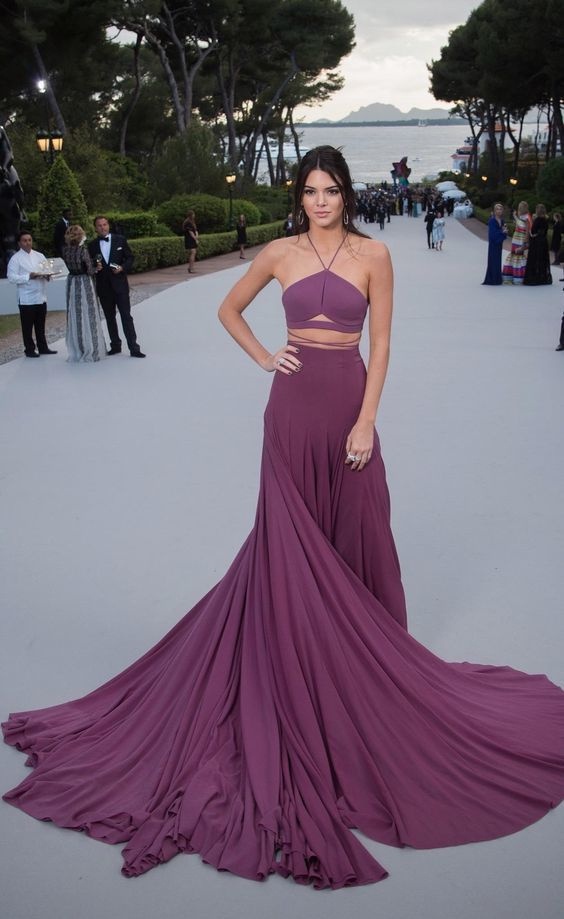 Kendall Jenner Wearing Purple Pleated Evening Dress Evening