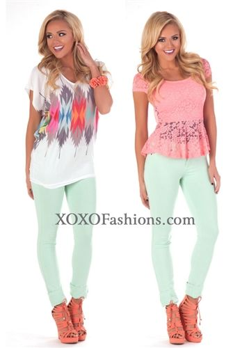 Pastel Mint Jeggings   Affordable Trendy Clothing   Cute Spring ...