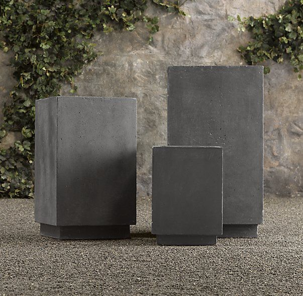 Weathered Cast Stone Cube Planters Outdoor Spaces