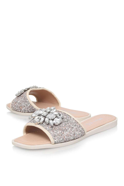 **Rebecca Silver Flat Sandal By Miss KG - Shoes
