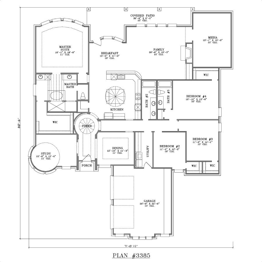 1 story house plans with pictures for Single story four bedroom house plans