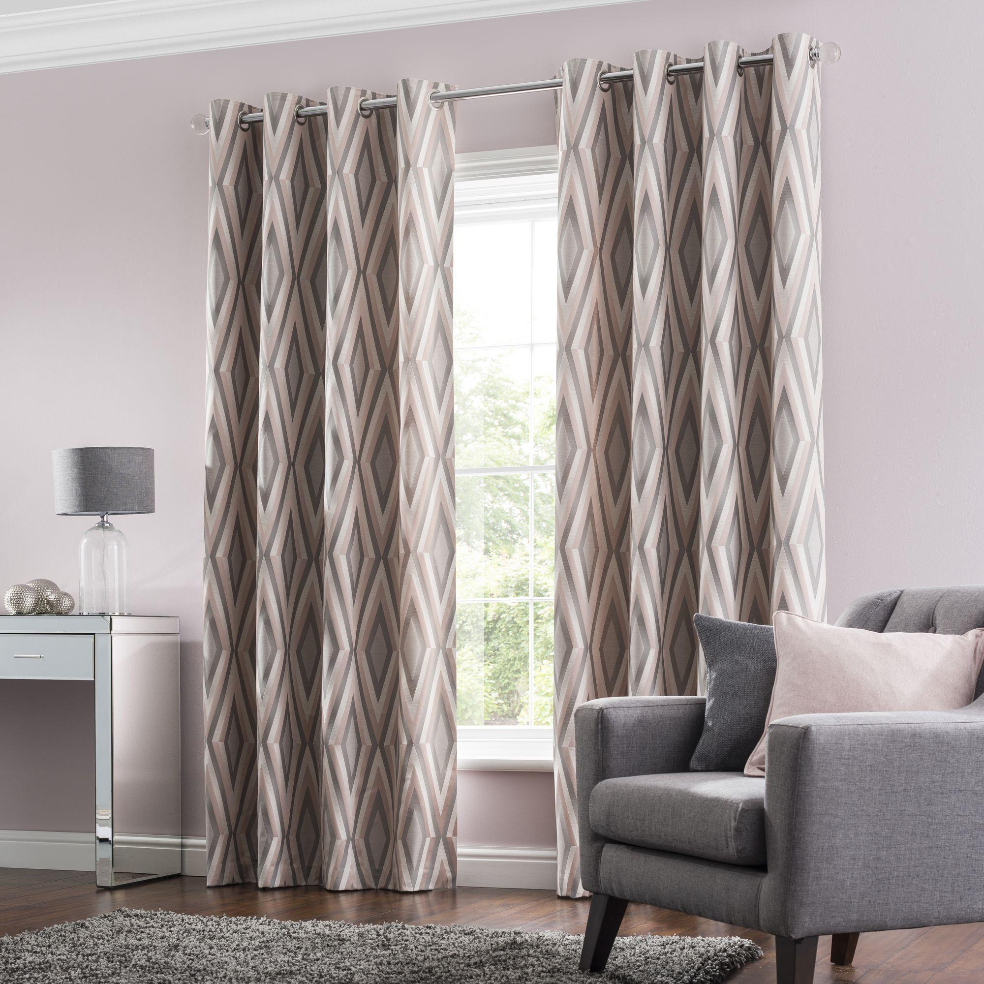 Diamond Jacquard Blush Eyelet Curtains Grey Curtains Living