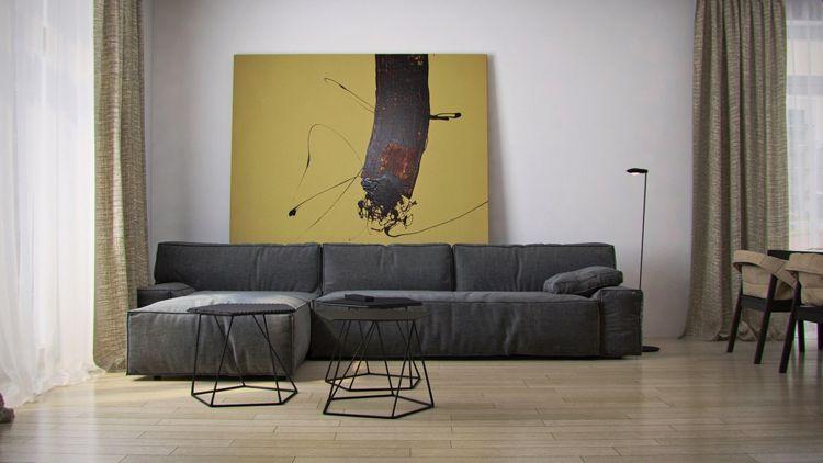 Charmant Bilder Für Wohnzimmer  Modern Minimalistisch Graues Sofa