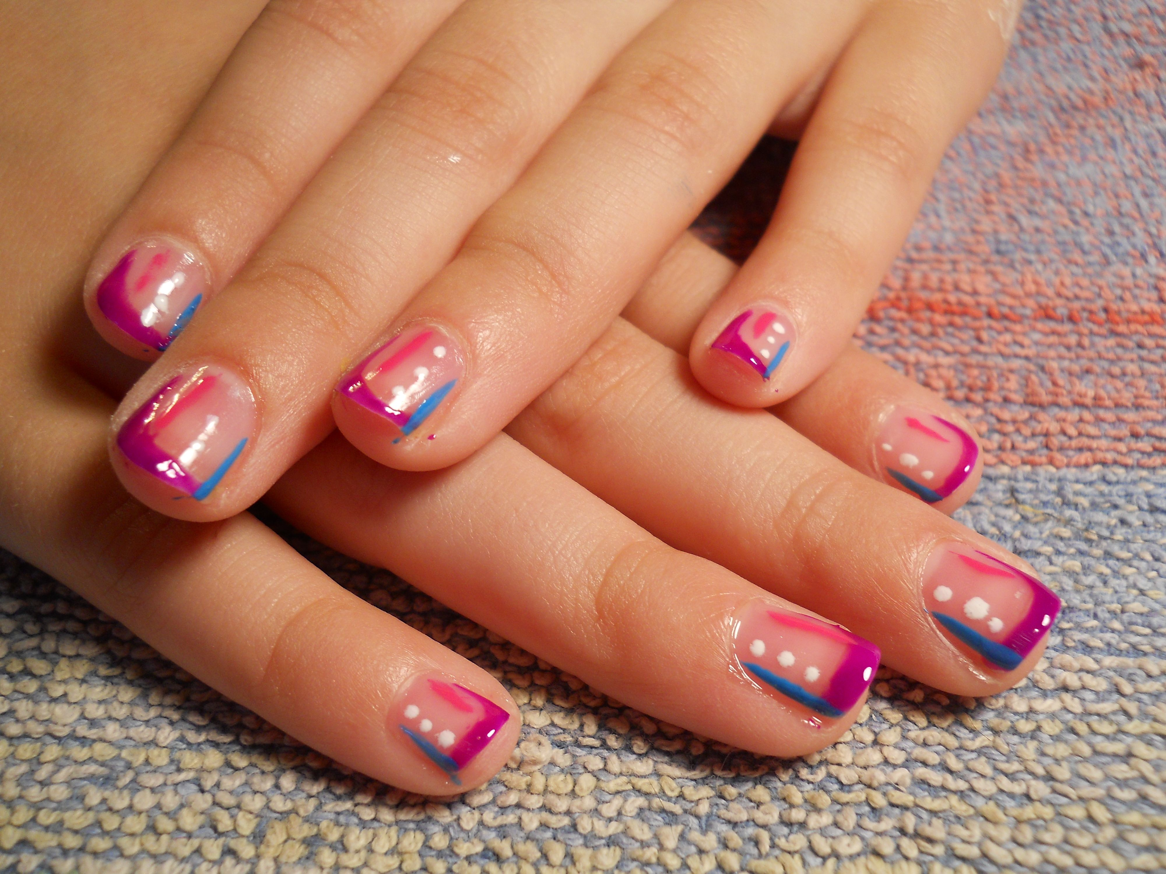 &0\'s style nails I did on my daughter in honor of my new nail desk ...