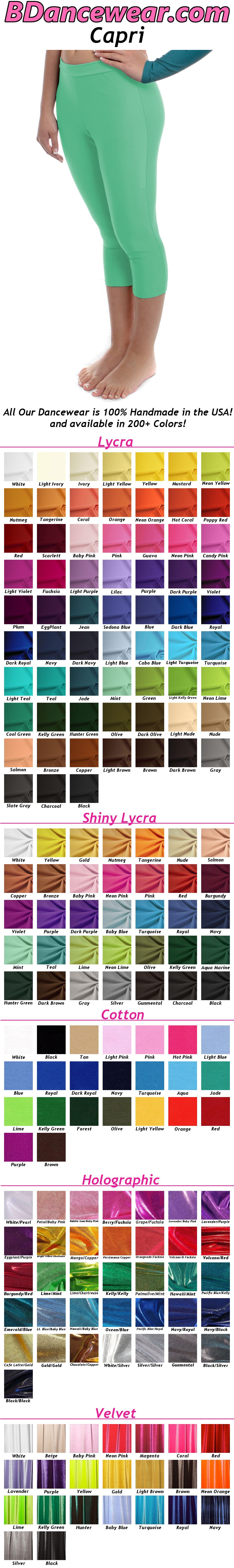 Capri Dance Pants (Lycra) - 200+ Colors ,  #Capri #Colors #dance #Description #Lycra #Pants