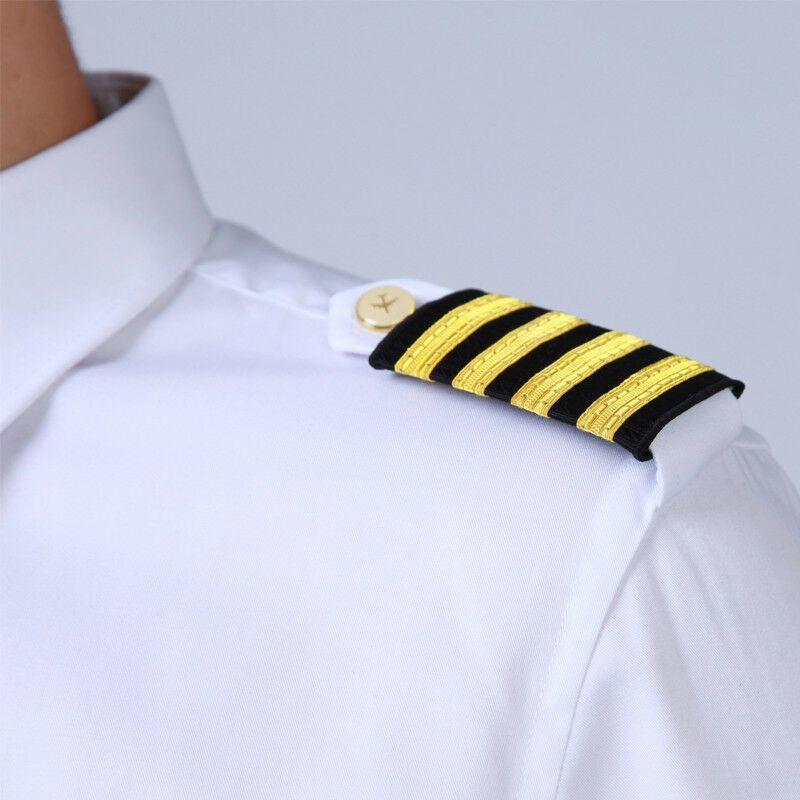First Officer Pilot Airline Marine Officer Three Bar Gold Stripes Epaulettes