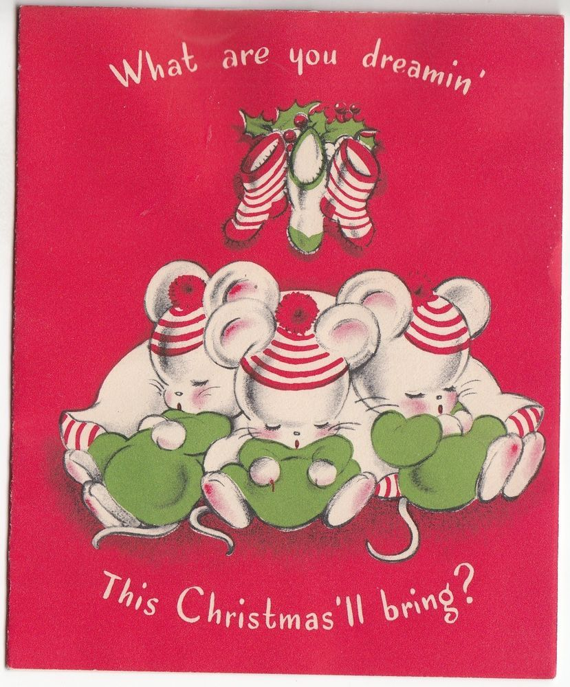 Vintage Norcross Little White Mice Asleep Christmas