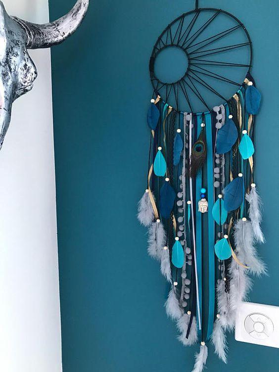 dream catcher tissage soleil noir en coloris turquoise bleu id es macram s attrape r ve. Black Bedroom Furniture Sets. Home Design Ideas