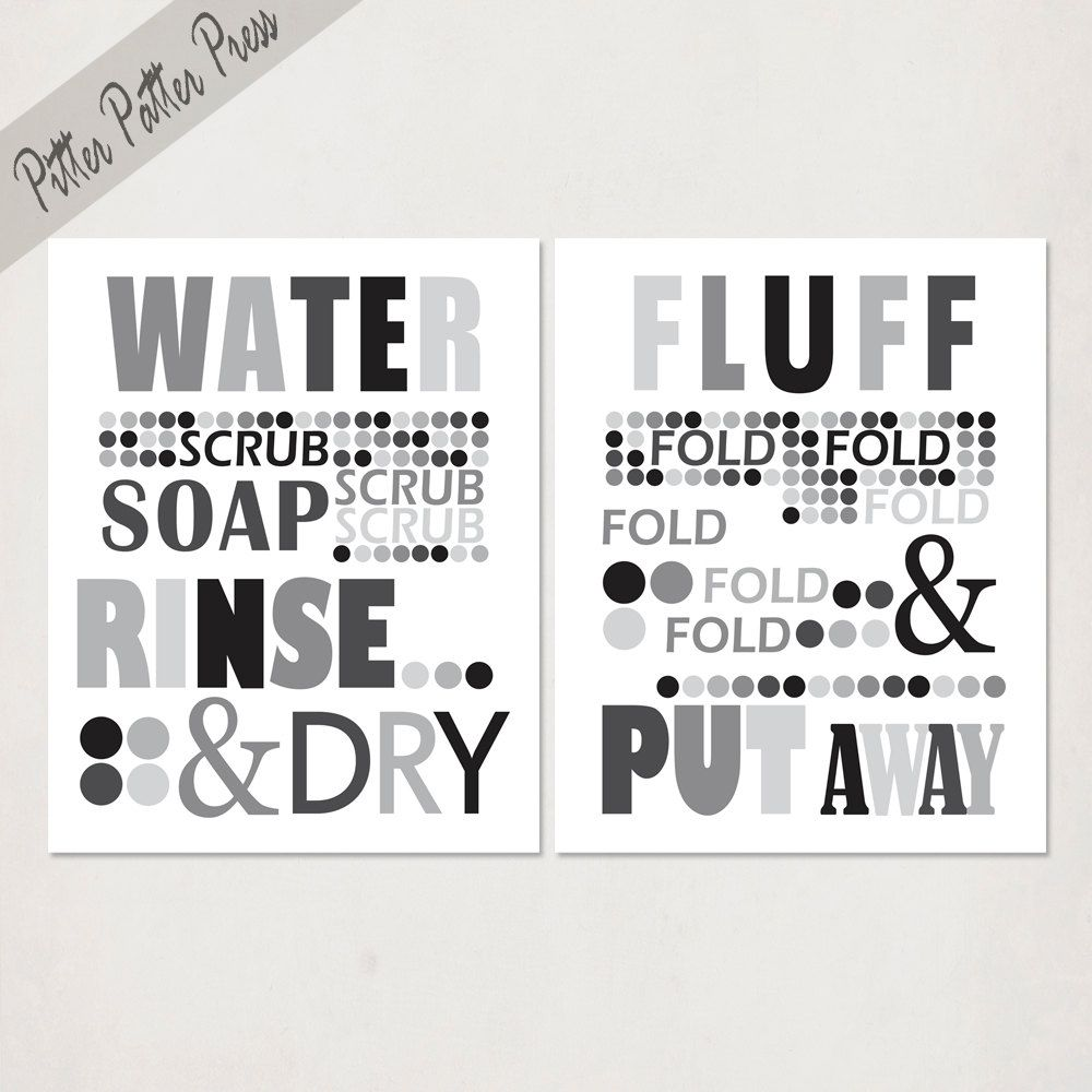 Laundry Word Art Laundry Room Art Typography Print Word Art Black And Gray Size