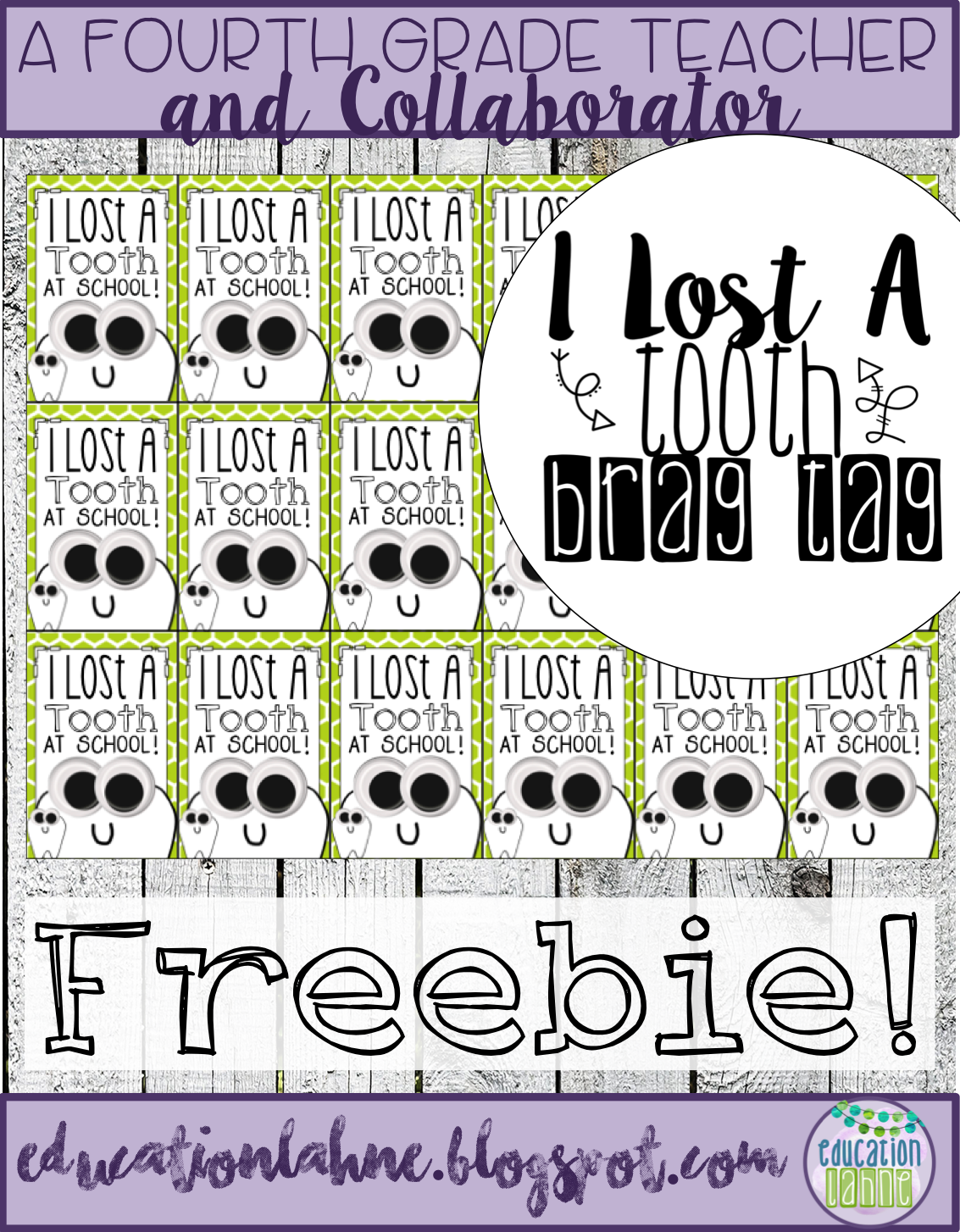 I Lost a Tooth at School Free Brag Tag! Grab this freebie to celebrate when your student looses a tooth at school. For more brag tags like this one, visit Education Lahne on Pinterest!