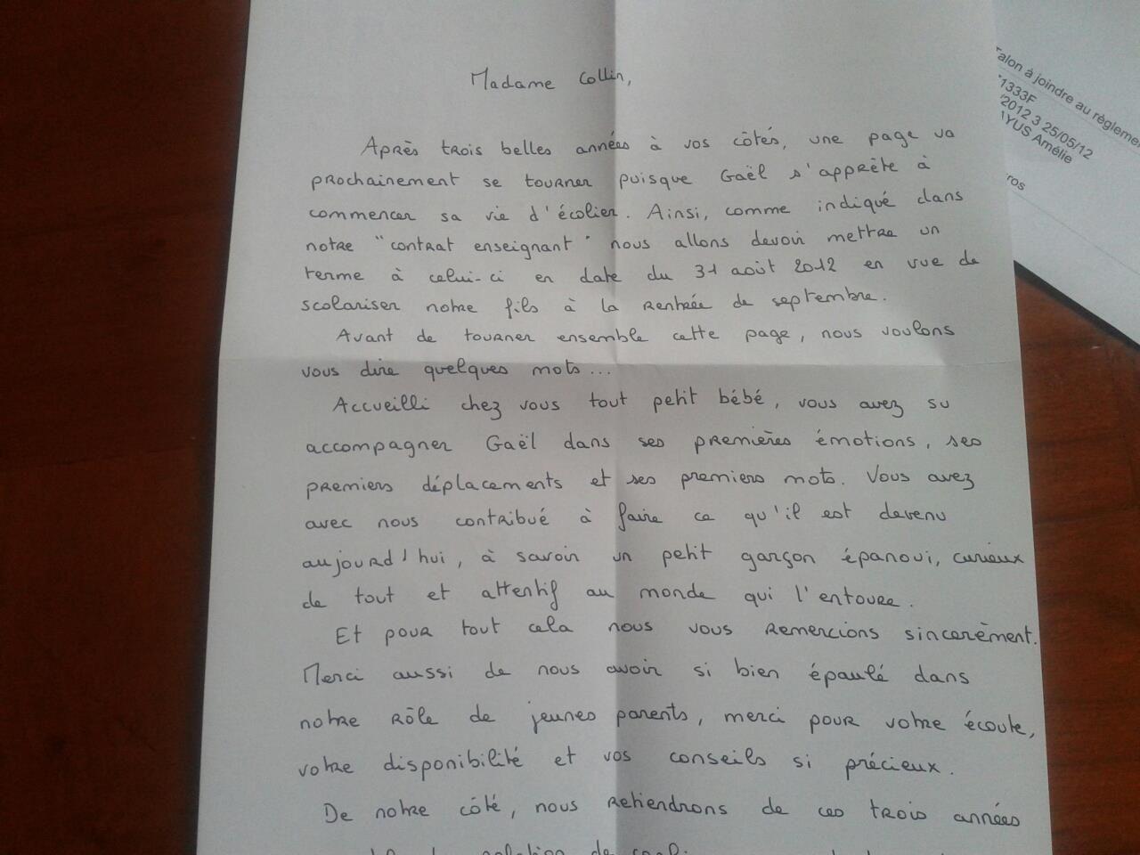 Très Assistante maternelle, Collin Sylvie, Villeparisis, lettre de  NW15