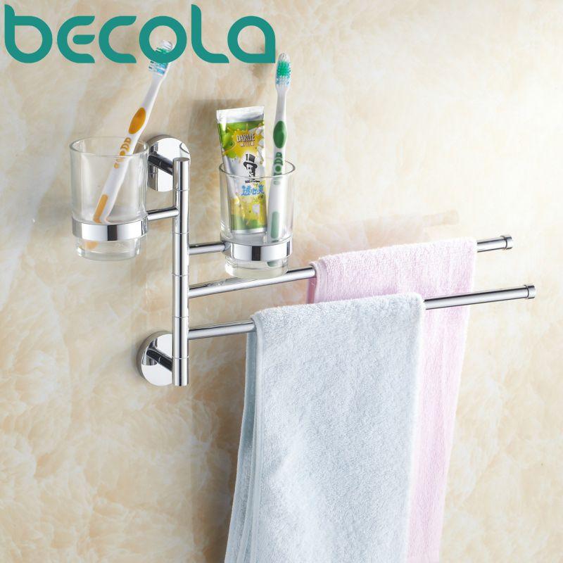 Free shipping Bathroom Accessories Towel Racks High Quality Chrome ...