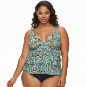 9fe881b2475 Plus Size Upstream Tiered Tankini Top