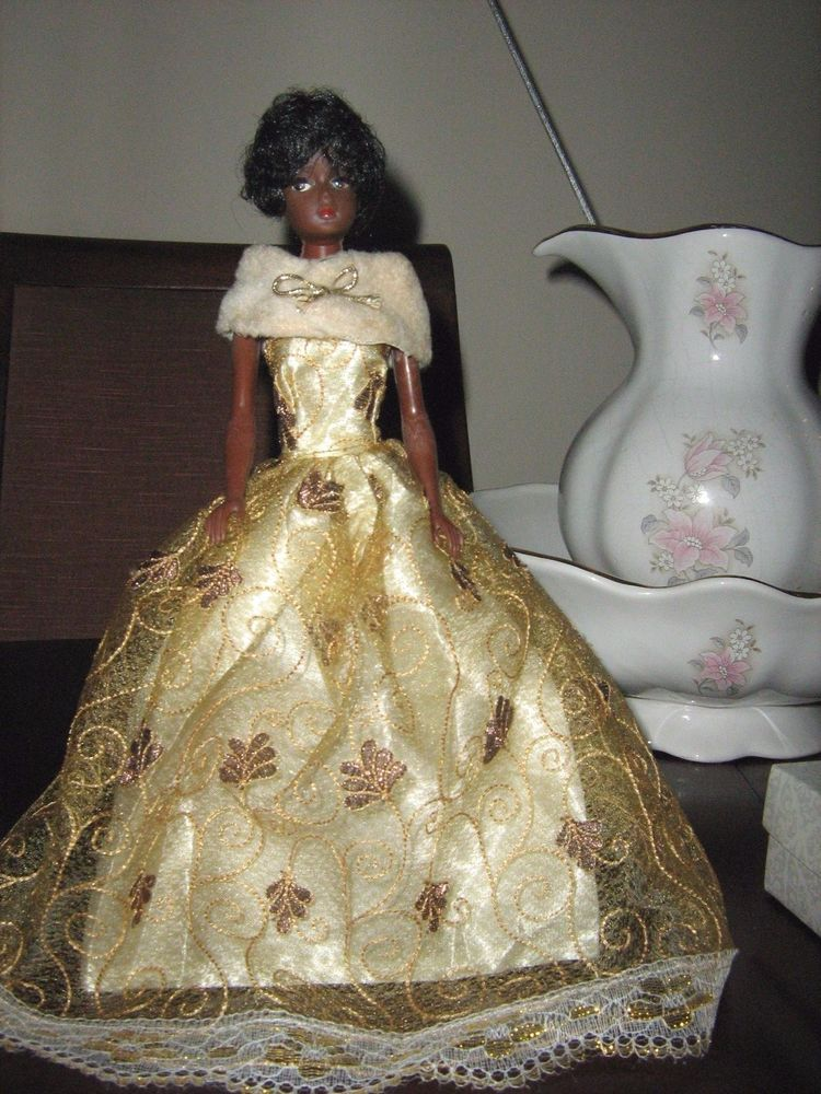 Wow Debbie the Elegant Doll, a talcum powder doll made in New Zealand c1967+, featured here in borrowed gold gown draped with original Debbie Doll evening fur shawl