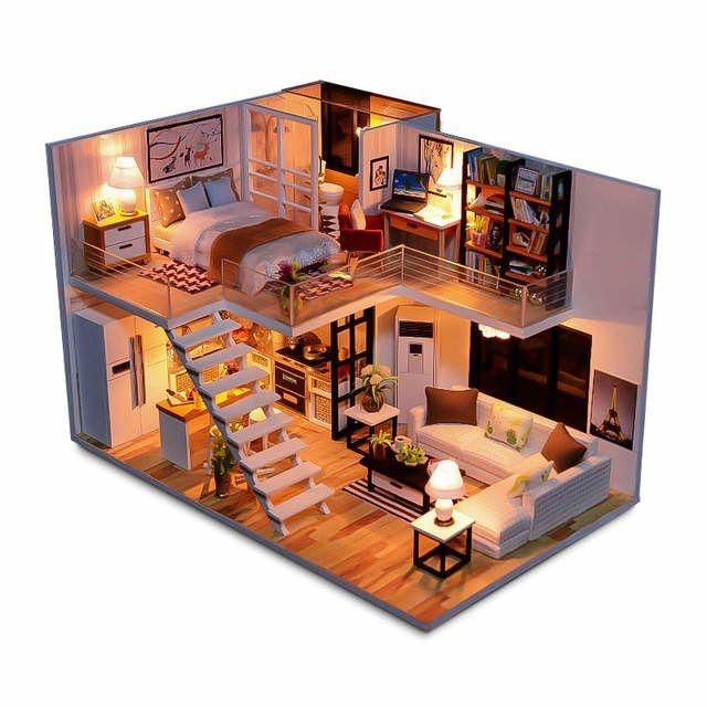 Nova casa de boneca diy em miniatura de madeira casas de bonecas móveis kit caixa puzzle montar doce palavra dollhouse brinquedos para o presente natal #caixasdemadeira
