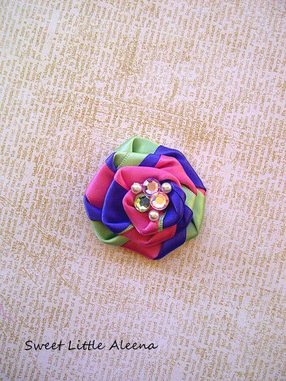 Newborn Girls Spring Flower Headband or Hair Bow Clip Pastel Pink Mint Green Purple. $6.25, via Etsy.