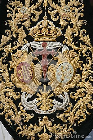 Spanish coat of arms. opulent embroidery and appliqué. gold on black
