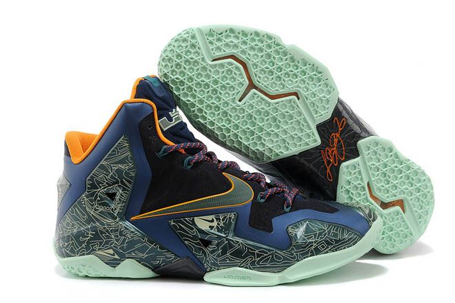 c1cabdfa0315a Nike Brand Air LeBron 11 Laser Graffiti Orange Green Navy Blue Black Colors  Mens Basketball Training Footwear