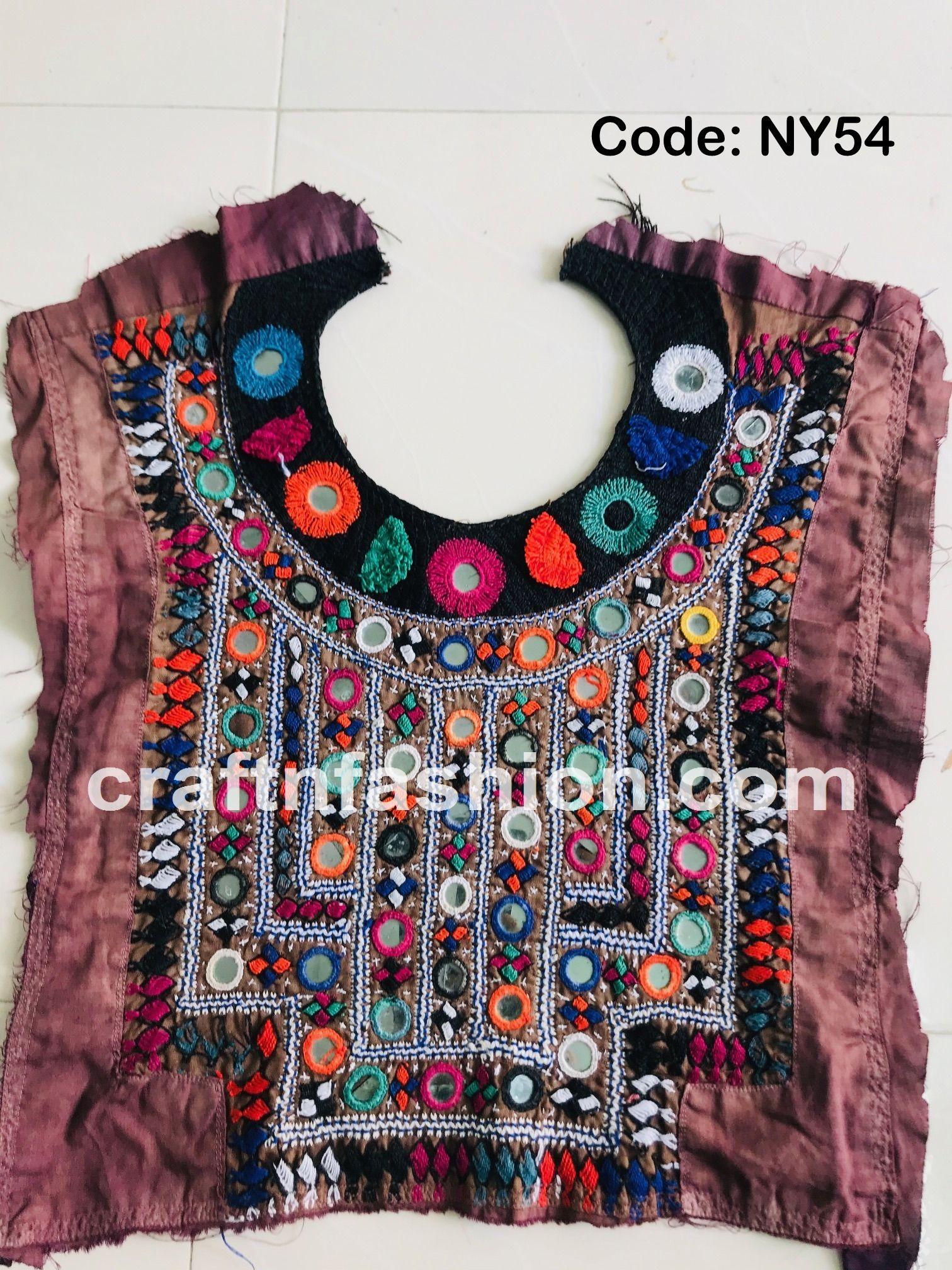 Vintage Handmade Boho Patch Sindh Hand Embroidery Patches Mirror Work Neck Yoke Traditional Gujarati Neck Patch Navratri Dress Yoke
