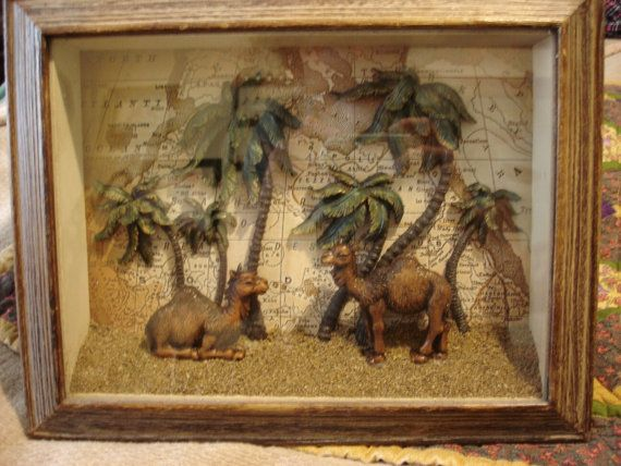 Vintage Shadow Box Desert Map Landscape with Two by mynameisbetina, $15.00  11x14