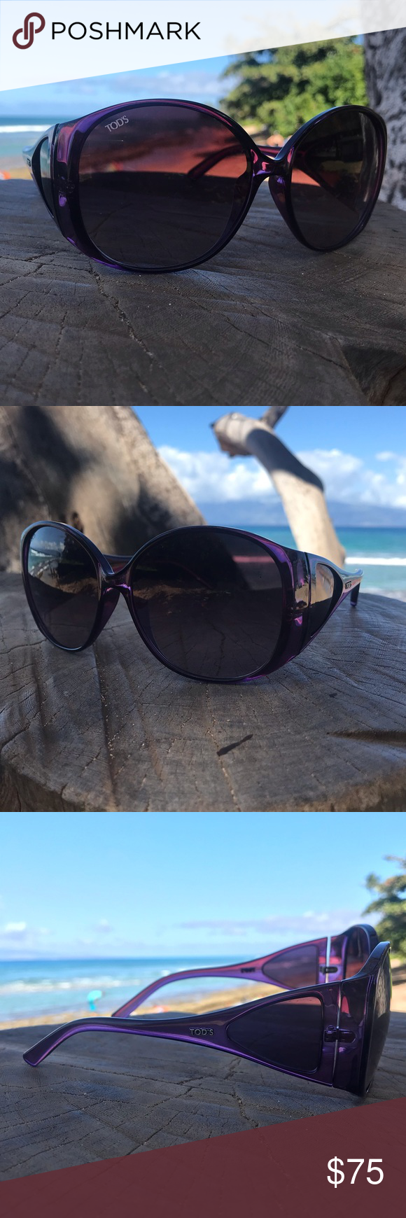 142565548cabd Gorgeous oversized sunglasses. Purple. Authentic. Tiny almost bit  noticeable scratch on one lense. Tod s Accessories Sunglasses