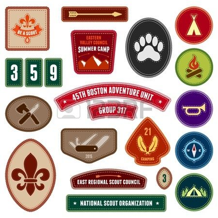 Set of scouting badges and merit badges for outdoor activities Stock Vector - 20381754