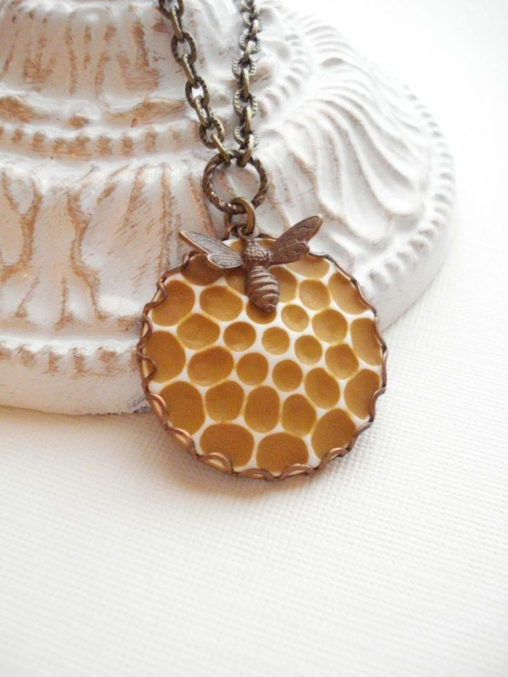 Honeycomb, Bee Necklace Vintage Cabachon Pendant, Autumn, Halloween. via Etsy.
