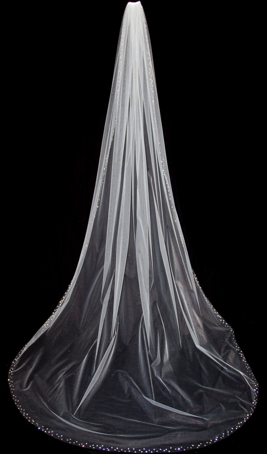 Chapel Bridal Veil with Crystal Edge Chapel Length by