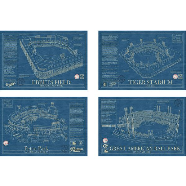 Ballpark Blueprints ($185) ❤ liked on Polyvore featuring home, home decor, wall art, ink drawing, black framed wall art, baseball wall art, blueprint wall art and blueprint drawing