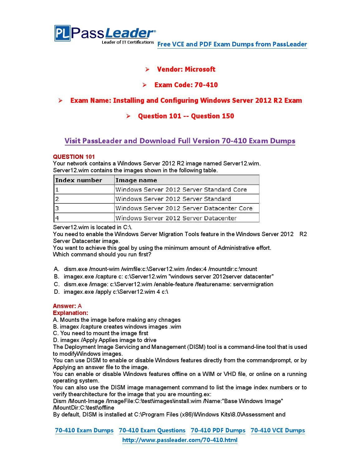70 410 Exam Dumps With Pdf And Vce Download 101 150 70 410 Exam