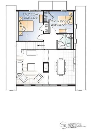 2nd Level A Frame Wood Cabin House Plan With Mezzanine And Open Floor Plan  Layout