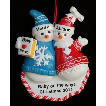 Pregnant Snow Couple  Personalized Family Christmas Ornament