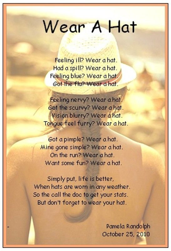 Wear a Hat - an original inspirational poem about wearing a hat for every mood by Pamela ...