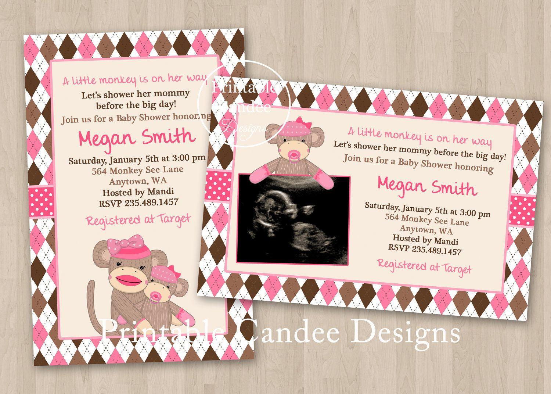 Girl Sock Monkey Baby Shower Invitation - DIY Custom Printable ...