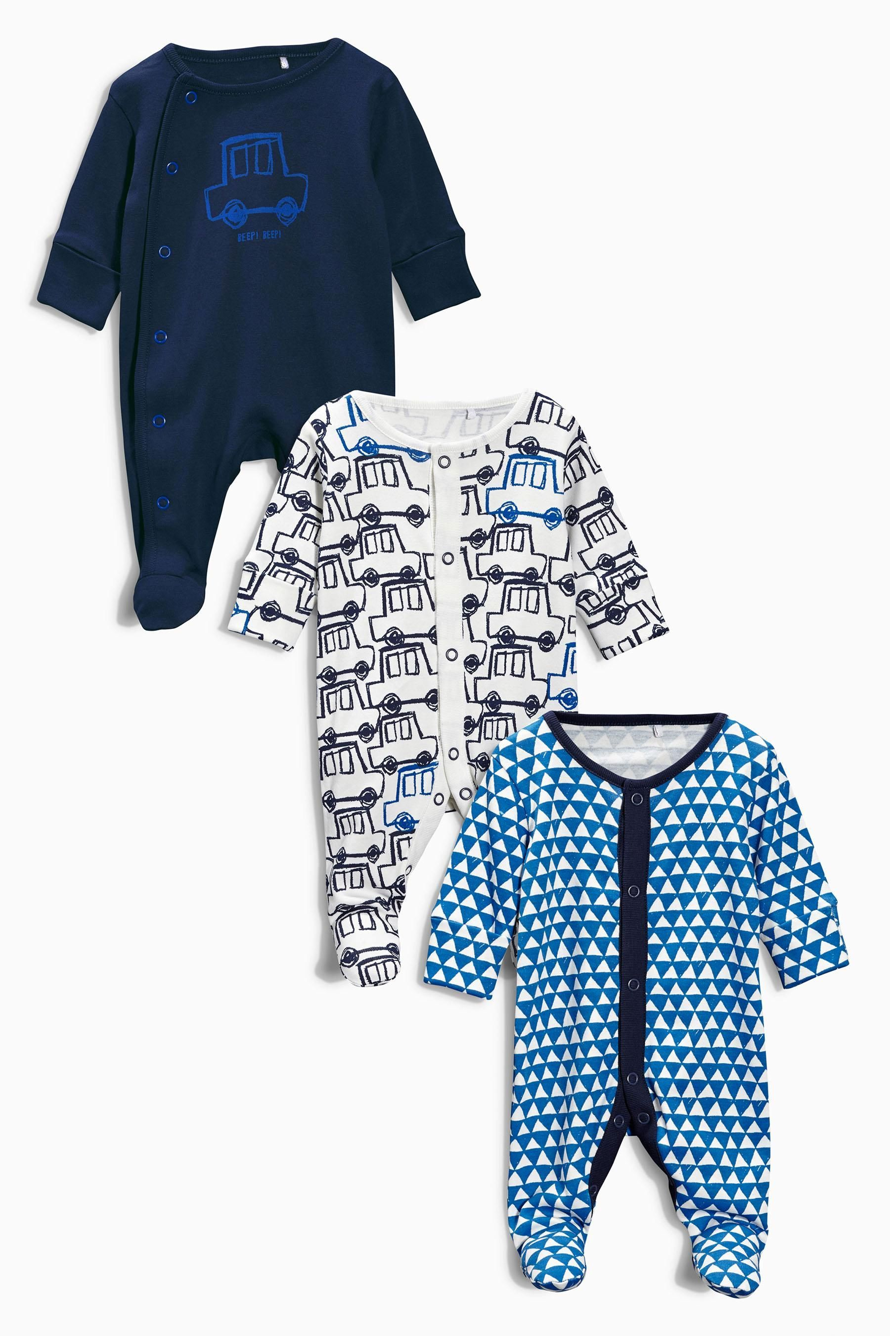 Buy Three Pack Ecru Cars Sleepsuits 0mths 2yrs from the Next UK