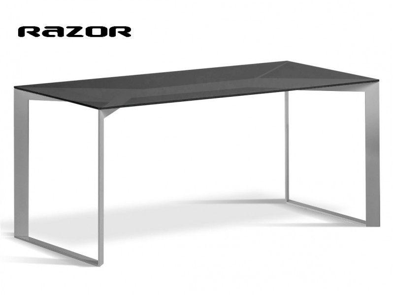 Table Rectangulaire Plateau Verre Razor Pietement Acier Peint Plateau En Verre Idees Pour La Maison Table