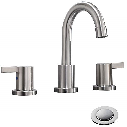 Bathroom Faucet 2 Handle 3 Hole 8 In With Metal Push Pop Up Drain