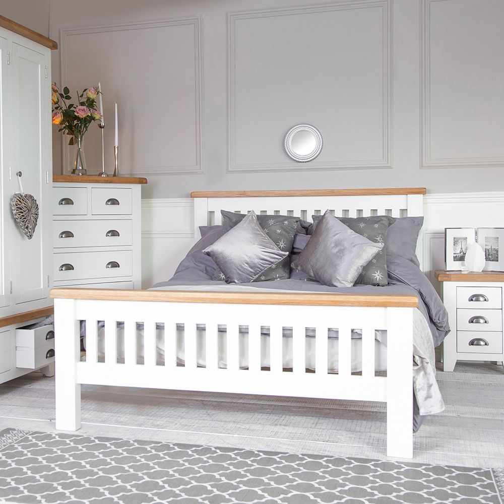 Hampshire White Painted Oak King Size 5ft Bed Frame in
