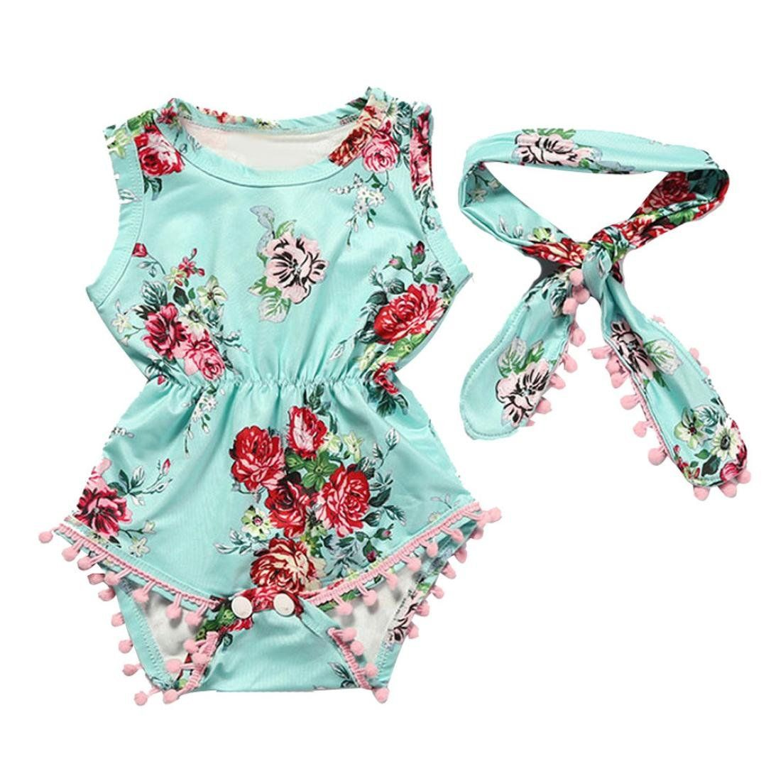 Toddler Infant Romper Jumpsuit Summer Newborn Baby Girls Floral Romper Jumpsuit Headband Sunsuit Outfit Clothes Set
