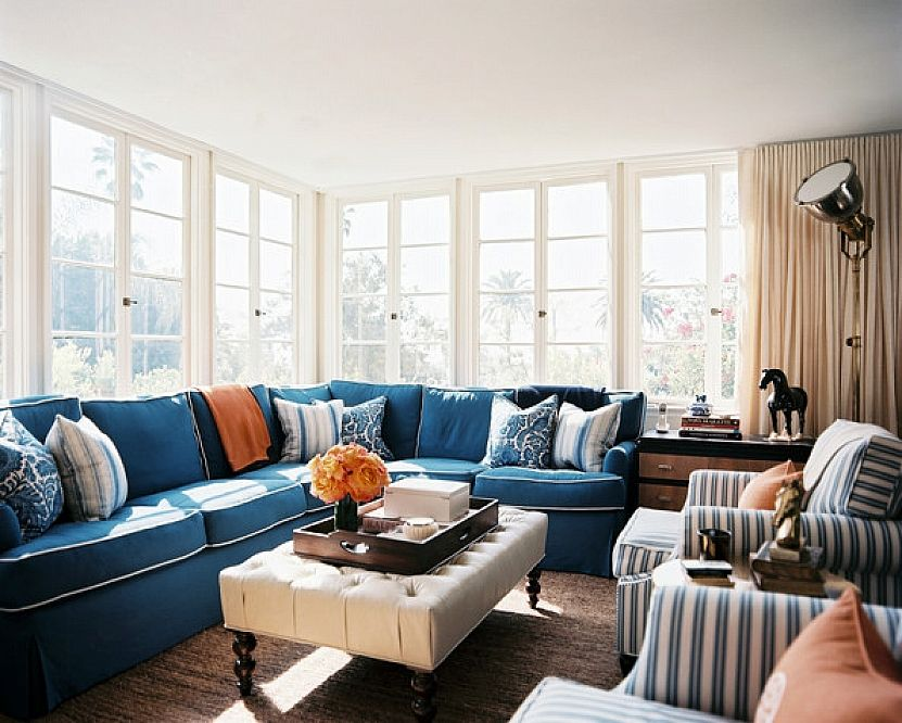 Cozy Living Room Accessories Decorating Ideas With Decorative Pillows On Blue Sofa Furniture And Square Tabl Sofa Decor Blue Sectional Couch Living Room Photos