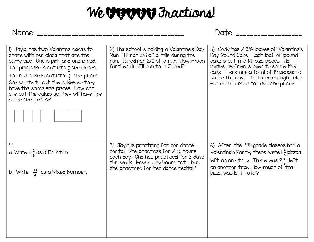 We Heart Fractions Valentine S Day Fraction Word