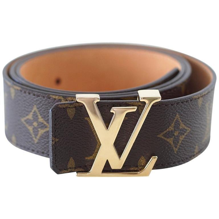 c65d842d4 LOUIS VUITTON Belt San Tulle Monogram 100cm / 40 Gold LV Buckle w/ Box 1