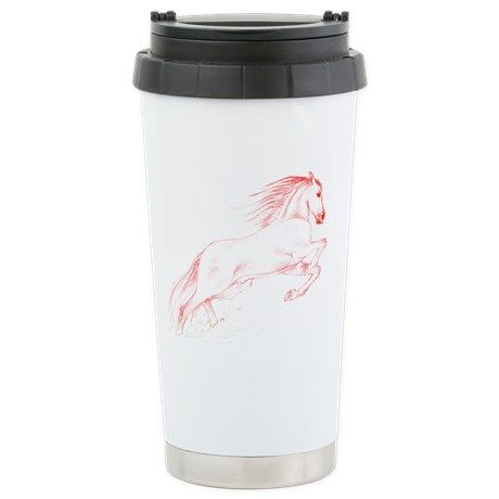 Running Horse Red Stainless Steel Travel Mug