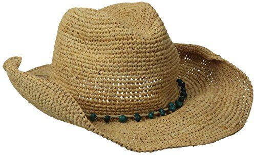 Women s Crochet Raffia Cowboy Hat with Turquoise Hat  989e495b079e