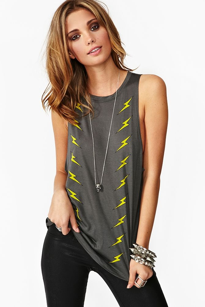 noveldesign hot sale beautiful and charming Lightning Bolt Muscle Tee | Thanks, It's New | Muscle tees ...