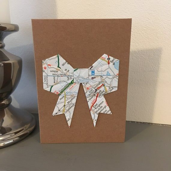 Photo of Origami Map Bow Recycled Greetings Card