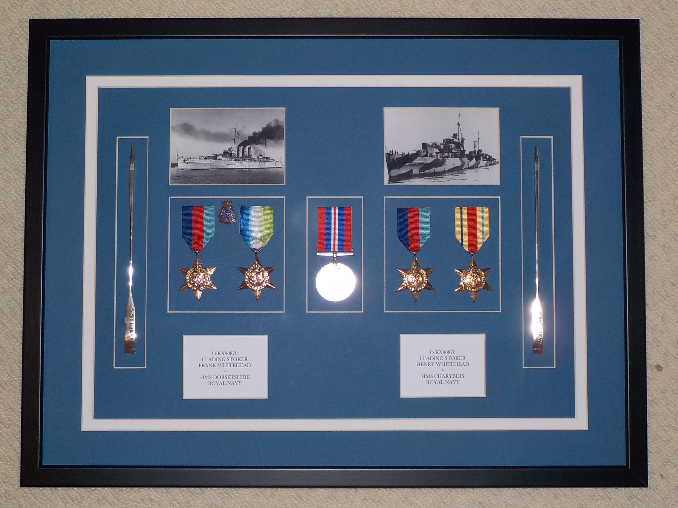 royal navy memorabilia shadow box frame containing two sets of medals from ww2 photou0027s and - Shadow Box Frames