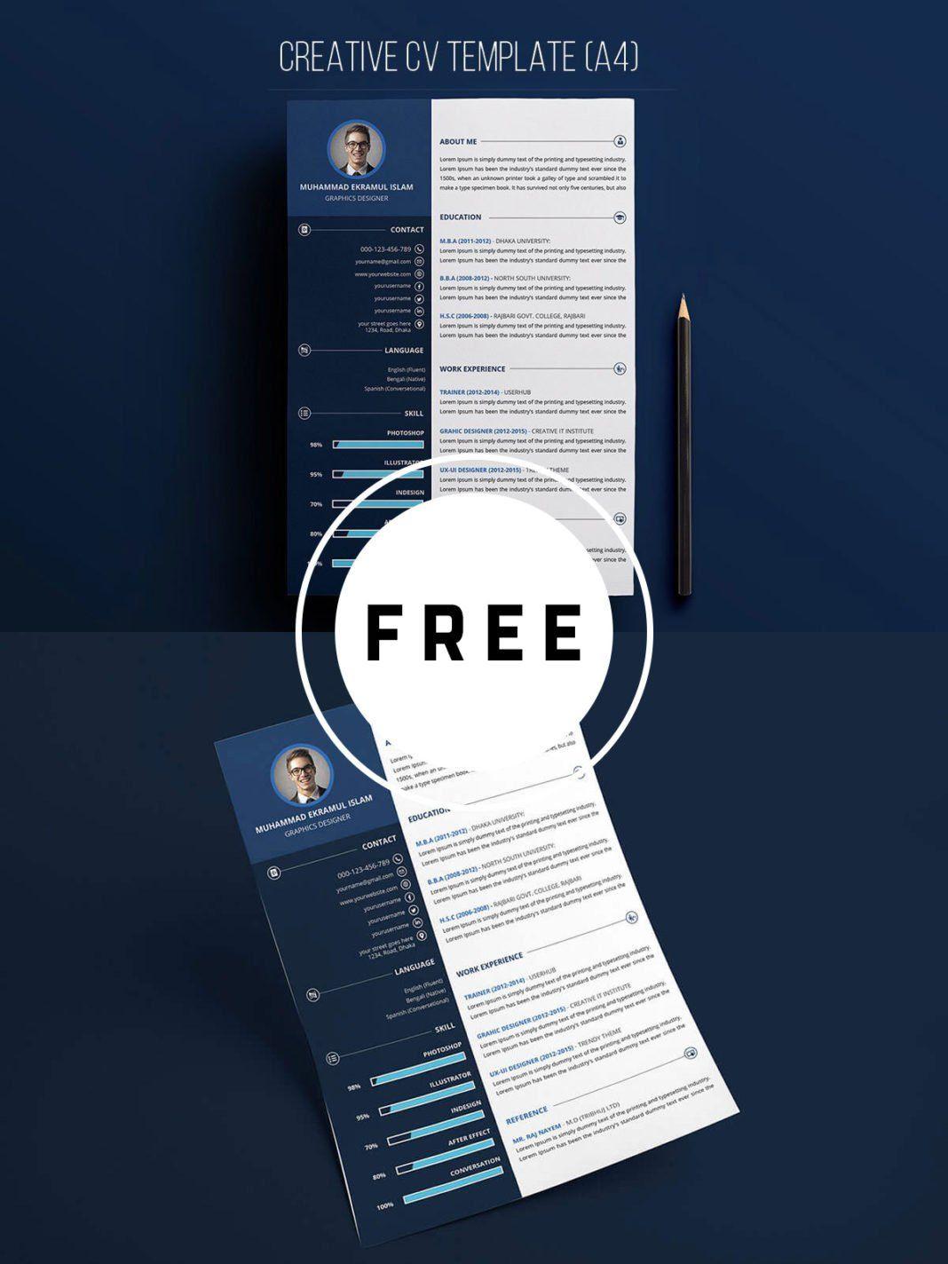 Free Creative Resume PSD Template Resume template free